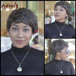 Fluffy Short Straight Black Brown Capless Heat Resistant Fiber Wig