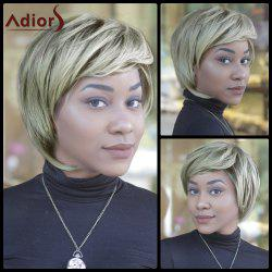 Fluffy Straight Mixed Color Synthetic Short Side Bang Capless Wig -