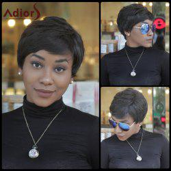 Faddish Short Fluffy Side Bang Straight Synthetic Capless Wig - BLACK