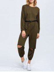 Elastic Waist Cut Out Jumpsuit