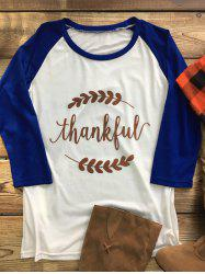 Thanksgiving Raglan Sleeve Thankful Graphic Tee