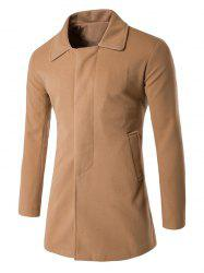 Covered Button Back Vent Wool Blend Coat -