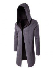 Plain Hooded Open Front Coat - GRAY