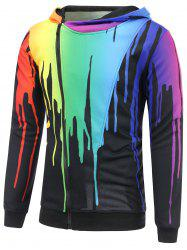 Paint Dripping Asymmetrical Zip Hoodie