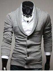 Shawl Collar Button Front Plain Cardigan