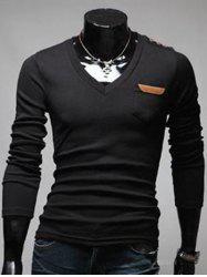 Chest Pocket Button Embellished V Neck T-Shirt