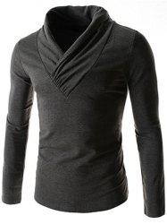 Ruched Collar Long Sleeve Plain T-Shirt - DEEP GRAY