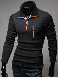 Long Sleeve Contrast Zip T-Shirt