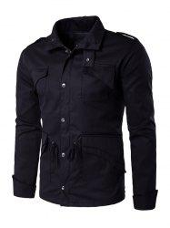 Multi Pocket Drawstring Waist Epaulet Design Jacket - BLACK