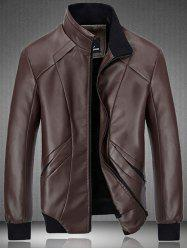 Rib Hem Zip Up Flocking PU Leather Jacket