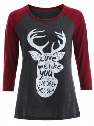 Letter Christmas Reindeer Tee - GRAY AND RED XL
