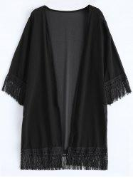 Collarless Chiffon Fringed Cardigan Kimono Cover Up