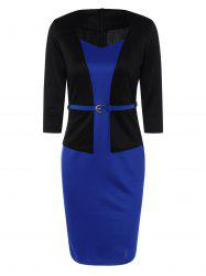 Slim Fit Belted Color Block Long Sleeve Sheath Dress