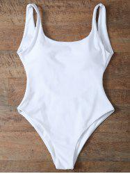High Cut Backless Unlined One Piece Swimwear - WHITE