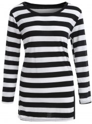 Drop Shoulder Striped T-Shirt with Split - STRIPE ONE SIZE