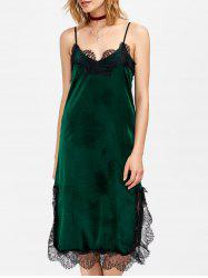 Velvet Slip Dress with Lace Trim