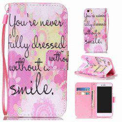 Smile Quote Leather Wallet Stand Case For iPhone 6Plus
