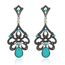 Artificial Opal Teardrop Earrings -