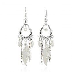 Fake Pearl Feather Chandelier Earrings -