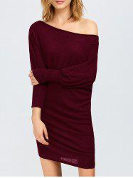 Skew Collar Asymmetric Dress