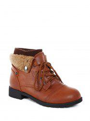 Lace Up Knit Panel Short Boots -
