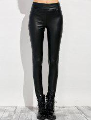 Faux Leather Elastic Waist Leggings