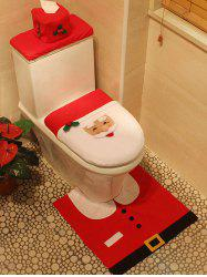 3PCS Christmas Supplies Santa Bathroom Toilet Closestool Cover Floor Mats - RED
