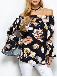 Bell Sleeve Off The Shoulder Floral Blouse - BLACK