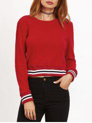 Round Neck Ribbed Cropped Sweater -