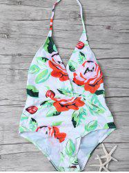 Halter Floral Print Backless Swimwear -