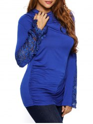 Lace Insert Ruched Long Sleeve Tee - BLUE L