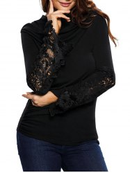 Lace Insert Ruched Long Sleeve Tee -