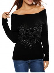 Heart Rhinestone Off The Shoulder Sweater - BLACK L