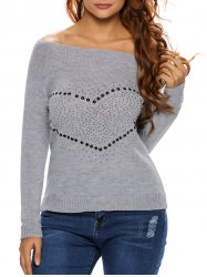 Heart Rhinestone Off The Shoulder Sweater
