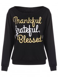 Thankful Print Pullover Sweatshirt - BLACK XL