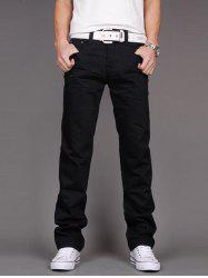 Loose Fit Zipper Fly Straight Leg Jeans
