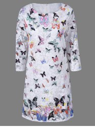 Lace Colorful Butterfly Mini Dress -
