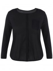 Plus Size Long Sleeve One Pocket Blouse