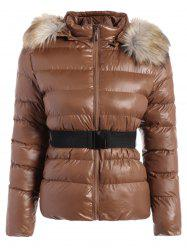 Belted Furry Hooded Winter Puffer Jacket