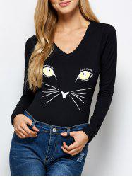 Casual Cat Print Long Sleeve Bodysuit