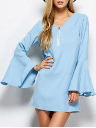 Flare Sleeve Half Zip Mini Day Dress