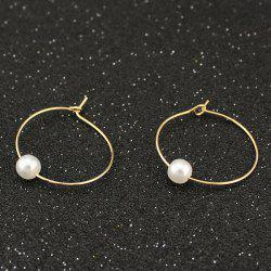 Artificial Pearl Circle Hoop Earrings -