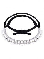 Fake Pearl Velvet Choker Necklace