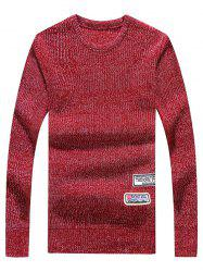 Crew Neck Appliques Long Sleeve Sweater -