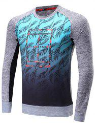 Leaves Print Raglan Sleeve Crew Neck Sweatshirt