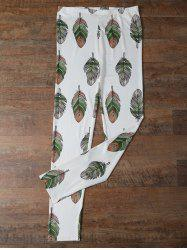 Elastic Waist Leaf Printed Leggings - WHITE XL