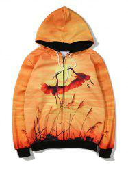 Animal Printed Zip Up Hoodie