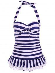 Navy Style Halterneck Striped Bow Tie Swimwear