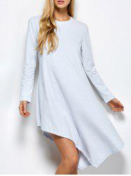 Long Sleeve Casual Asymmetric Dress - LIGHT GREY 2XL