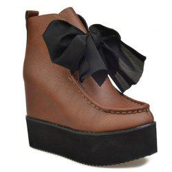 Hidden Wedge Bowknot Ankle Boots -